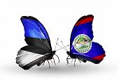 Two Butterflies With Flags On Wings As Symbol Of Relations Estonia And Belize