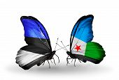 Two Butterflies With Flags On Wings As Symbol Of Relations Estonia And Djibouti