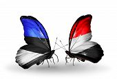 Two Butterflies With Flags On Wings As Symbol Of Relations Estonia And Yemen