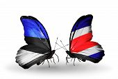 Two Butterflies With Flags On Wings As Symbol Of Relations Estonia And Costa Rica