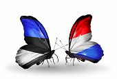 Two Butterflies With Flags On Wings As Symbol Of Relations Estonia And Luxembourg