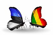 Two Butterflies With Flags On Wings As Symbol Of Relations Estonia And Mali
