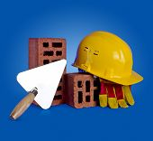 Bricks, Trowel And Helmet