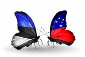 stock photo of samoa  - Two butterflies with flags on wings as symbol of relations Estonia and Samoa - JPG