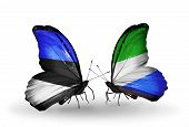 Two Butterflies With Flags On Wings As Symbol Of Relations Estonia And Sierra Leone