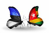 Two Butterflies With Flags On Wings As Symbol Of Relations Estonia And Togo