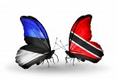 Two Butterflies With Flags On Wings As Symbol Of Relations Estonia And Trinidad And Tobago