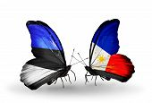Two Butterflies With Flags On Wings As Symbol Of Relations Estonia And Philippines