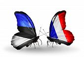 Two Butterflies With Flags On Wings As Symbol Of Relations Estonia And France