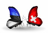Two Butterflies With Flags On Wings As Symbol Of Relations Estonia And Switzerland