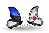 Two Butterflies With Flags On Wings As Symbol Of Relations Estonia And South Korea