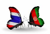 Two Butterflies With Flags On Wings As Symbol Of Relations Thailand And Afghanistan