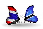 Two Butterflies With Flags On Wings As Symbol Of Relations Thailand And Botswana
