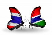 Two Butterflies With Flags On Wings As Symbol Of Relations Thailand And Gambia