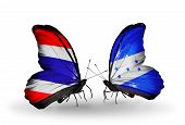 Two Butterflies With Flags On Wings As Symbol Of Relations Thailand And Honduras