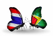Two Butterflies With Flags On Wings As Symbol Of Relations Thailand And Guyana