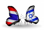 Two Butterflies With Flags On Wings As Symbol Of Relations Thailand And Israel
