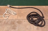 Mooring Ropes On Jetty