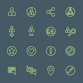 green outline various social network actions icons set