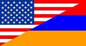 stock photo of armenia  - united states of america and armenia half country flag - JPG