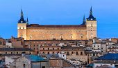 Alcazar And Old Part Of Toledo At Night, Spain