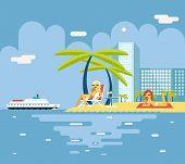 Gigls Sunny Beach Planning Summer Vacation Tourism Journey Symbol Ocean Sea Travel background Flat D
