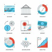 Finance And Banking Line Icons Set