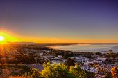Sunbeams over the city of Ventura