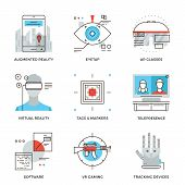 Virtual Reality Technology Line Icons Set