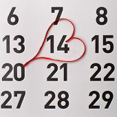 14Th of February calendar reminder with a red satin heart
