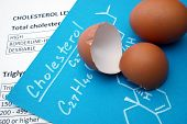 Papers with cholesterol formula and egg.