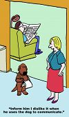 stock photo of dogging  - Cartoon of husband with back to wife and using dog to communicate with wife - JPG