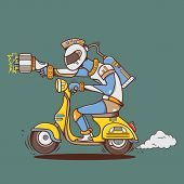 pic of vespa  - creative design of Big laser gun alien with yellow vespa - JPG