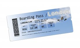 stock photo of pass-time  - Airline boarding pass tickets to London isolated on white.