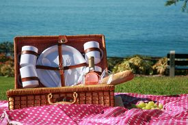 stock photo of eat grass  - A Picnic at the beach with Wine - JPG