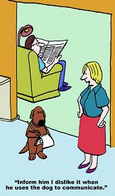 foto of dislike  - Cartoon of husband with back to wife and using dog to communicate with wife - JPG