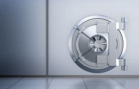 foto of in front  - front view of the door of a bank vault  - JPG