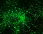 stock photo of cybernetics  - Abstract digital background with green cybernetic particles - JPG
