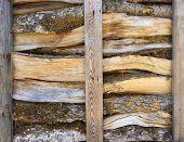 picture of firewood  - Split firewood is stored in an open wooden rack - JPG