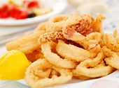 picture of squid  - Fried squid in a greek restaurant - JPG
