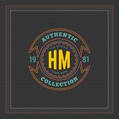 Thin Line Logotype Or Badge Template In Vintage Colors poster