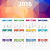 stock photo of august calendar  - Calendar 2016 Vector Design Template - JPG