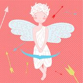picture of cupid  - Funny cute  little cupid Illustration  Vector on polka dot background - JPG