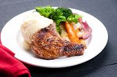 image of pork chop  - grilled pork rib chop with mashed potato and roasted carrot - JPG