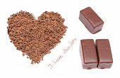 image of word charity  - Closeup of heart shaped grated chocolate with words I love chocolate and three chocolate candies I love chocolate concept - JPG