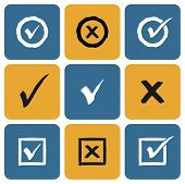 image of confirmation  - Vector Set of hand drawn Check Marks Icons - JPG