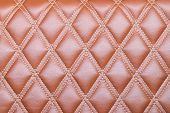 pic of quadrangles  - Leather diamond stripes brown color texture background natural color - JPG