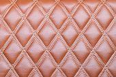 foto of quadrangles  - Leather diamond stripes brown color texture background natural color - JPG