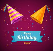 stock photo of party hats  - Vector Birthay Card with two party hats and space for text - JPG