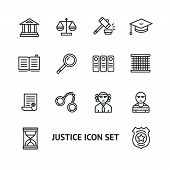 stock photo of justice  - Vector illustration justice law outline icon set - JPG